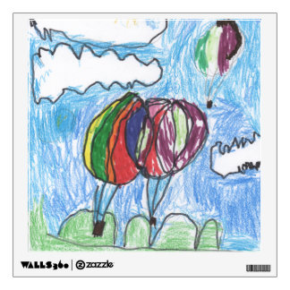 Hot Air Balloons Childs Artwork marker and crayon Wall Sticker