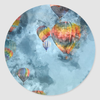 Hot Air Balloons Classic Round Sticker