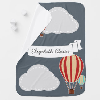 Hot Air Balloons & Clouds Traveler - Personalized Receiving Blanket