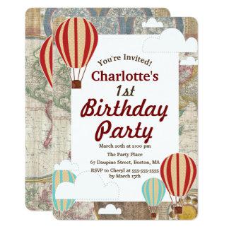 Hot Air Balloons & Clouds World Travel Birthday Card