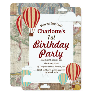 Hot air balloon invitations zazzle hot air balloons clouds world travel birthday invitation filmwisefo