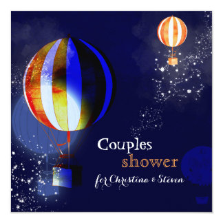 Hot Air Balloons Evening Couples Shower Invites