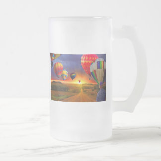 Hot Air Balloons Frosted Glass Beer Mug