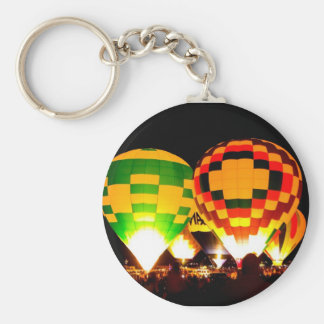 Hot Air Balloons Glowing at Night Basic Round Button Keychain