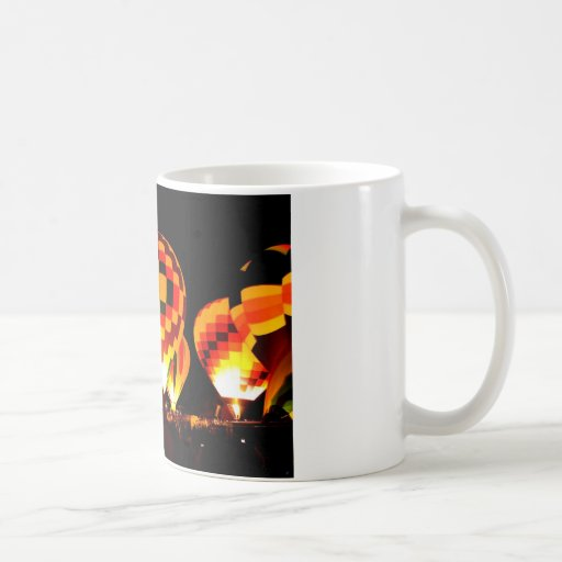 Hot Air Balloons Glowing at Night Coffee Mug