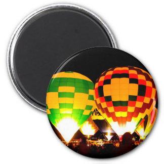 Hot Air Balloons Glowing at Night Magnets