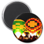 Hot Air Balloons Glowing at Night Magnets
