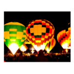 Hot Air Balloons Glowing at Night Post Card