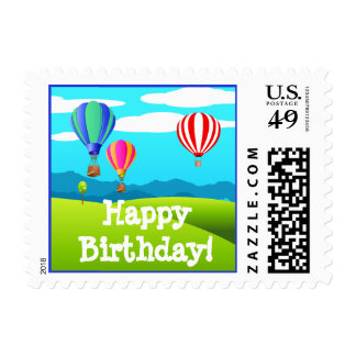 Hot Air Balloons Happy Birthday Postage