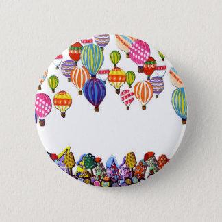 Hot Air Balloons Houses Whimsical Folk Art Pinback Button