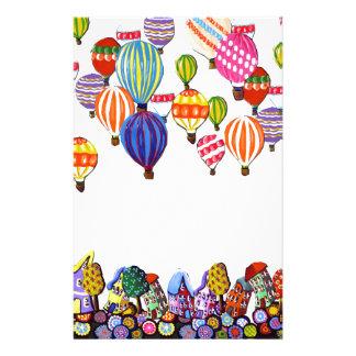 Hot Air Balloons Houses Whimsical Folk Art Stationery