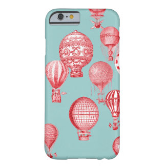 Hot Air Balloons in Flight, Red on Robins Egg Blue Barely There iPhone 6 Case