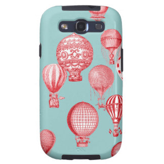 Hot Air Balloons in Flight, Red on Robins Egg Blue Galaxy S3 Covers