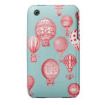 Hot Air Balloons in Flight, Red on Robins Egg Blue iPhone 3 Cover