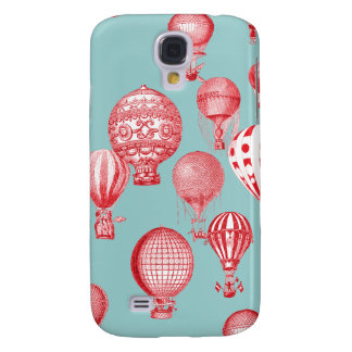 Hot Air Balloons in Flight, Red on Robins Egg Blue Samsung Galaxy S4 Covers