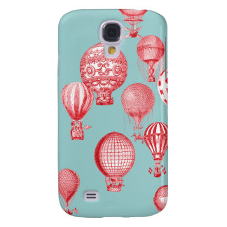 Hot Air Balloons in Flight, Red on Robins Egg Blue Galaxy S4 Cases