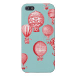 Hot Air Balloons in Flight, Red on Robins Egg Blue Cover For iPhone 5/5S