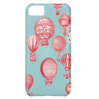 Hot Air Balloons in Flight, Red on Robins Egg Blue Cover For iPhone 5C
