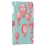 Hot Air Balloons in Flight, Red on Robins Egg Blue iPad Mini Covers