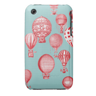 Hot Air Balloons in Flight, Red on Robins Egg Blue iPhone 3 Case