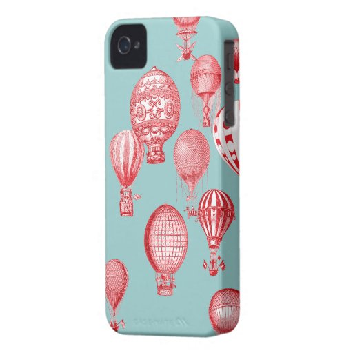 Hot Air Balloons in Flight, Red on Robins Egg Blue iPhone 4 Cover