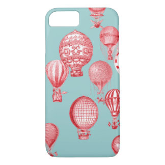 Hot Air Balloons in Flight, Red on Robins Egg Blue iPhone 7 Case