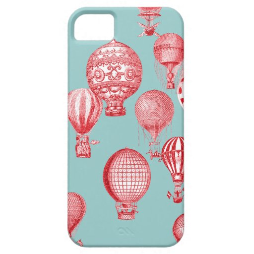 Hot Air Balloons in Flight, Red on Robins Egg Blue iPhone SE/5/5s Case