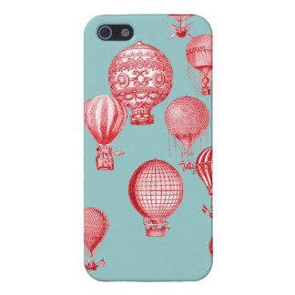 Hot Air Balloons in Flight, Red on Robins Egg Blue iPhone SE/5/5s Cover
