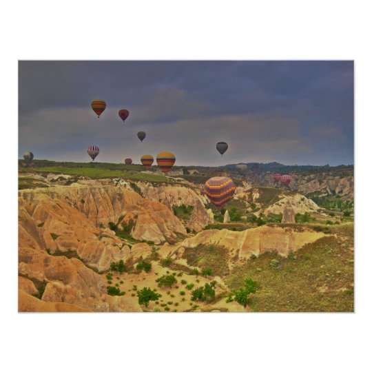 Hot air balloons in Love Valley Canyon Poster