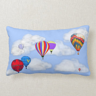 Hot Air Balloons in the Clouds on Lumbar Pillow
