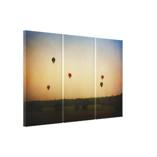 Hot Air Balloons in the Morning 3 panel canvas Canvas Print