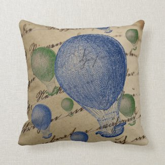 Hot Air Balloons on Handwriting Background Cotton Throw Pillow