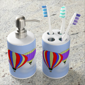 Hot Air Balloons on Toothbrush Holder & Soap Pump