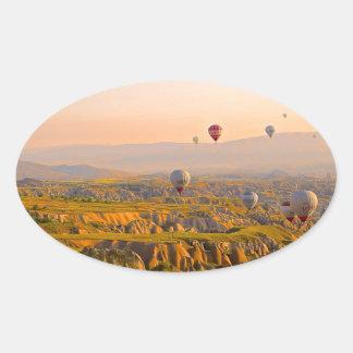 Hot Air Balloons Oval Sticker
