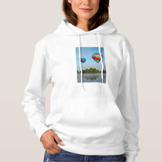 Hot air balloons over a lake,  NZ Hoodie