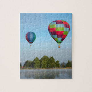 Hot air balloons over a lake,  NZ Jigsaw Puzzle