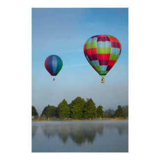 Hot air balloons over a lake,  NZ Poster
