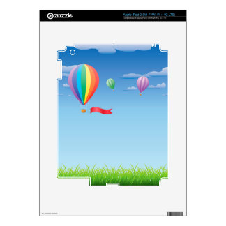 Hot air balloons over grass field decal for iPad 3