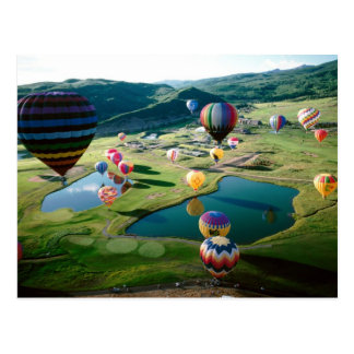 Hot Air Balloons Over Lakes Postcard