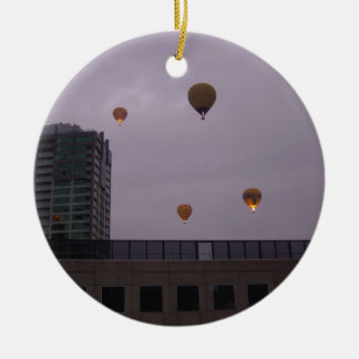 Hot Air Balloons Over Melbourne Double-Sided Ceramic Round Christmas Ornament