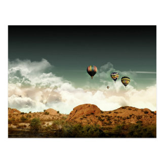 Hot Air Balloons Over Mountains Post Card