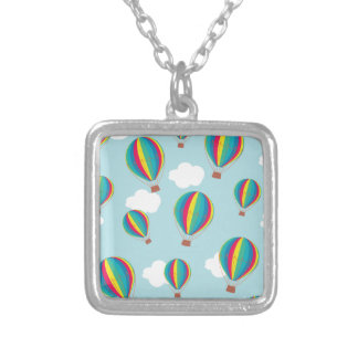 Hot air balloons silver plated necklace