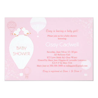 Hot Air Balloons Soft Pink Baby Girl Baby Shower Card