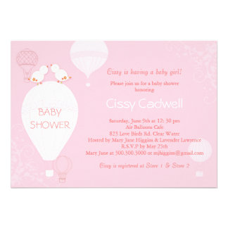 Hot Air Balloons Soft Pink Baby Girl Baby Shower Invitation