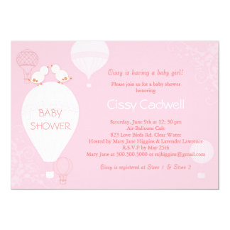 Hot Air Balloons Soft Pink Baby Girl Baby Shower 5x7 Paper Invitation Card