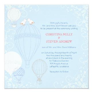 Hot Air Balloons Spring Baby Blue Wedding Card