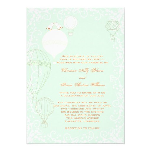 Personalized Hot air balloon Invitations CustomInvitations4Ucom
