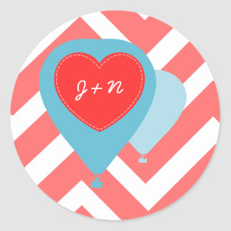 Hot Air Balloons Stickers- Red Chevron Classic Round Sticker