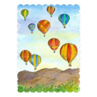 Hot Air Balloons Sunrise Mountain Landscape 5x7 Paper Invitation Card