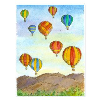 Hot Air Balloons Sunrise Mountains Watercolor Postcard